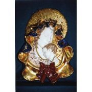Madonna & Child Wall Plaque, Painted Ceramic 17 Inch