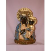 Our Lady Of Czestochowa Statue, Painted Alabaster, 7.75 Inch