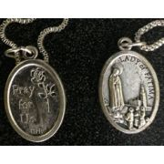 Our Lady Of Fatima/Pray For Us Medal In Nickel, 1 Inch 23 Inch Chain