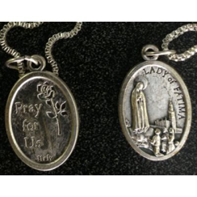Our Lady Of Fatima/Pray For Us Medal In Nickel, 1 Inch 23 Inch Chain -  - G022Z