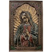 Our Lady Of Guadalupe Painted Cast Bronze, 6x9in. Plaque