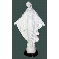 Our Lady Of The Smiles Statue White Alabaster By Ennio Furiesi, 16 In.