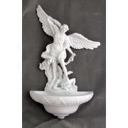 Saint Michael Church Holy Water Bowl Font, White, 9 Inch