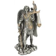 St.Michael-Scales/Justice, Pewter Style Finish, Golden Highlights, 11""