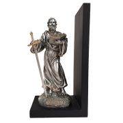 St. Paul BOOKEND, Pewter Style Finish, Golden Highlights, 9.5""