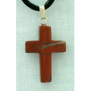 Red Jasper Natural Stone Cross Necklace, 26 Inch
