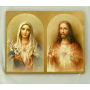 Sacred Heart Of Jesus/Immaculate Heart Of Mary Plaque, 7.75x9.75in.