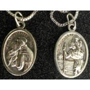 Saint Anthony/Saint Christopher Medal, Nickel w/23 Inch Chain