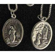 Saint Bernadette/Lourdes Medal In Nickel, 1 Inch 23 Inch Chain