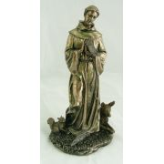 Saint Francis w/Animals, Cold-Cast Bronze, Painted, 12in. Statue