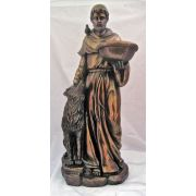 Saint Francis w/Wolf In Cold-Cast Bronze, 20 Inch Statue