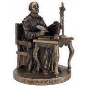 Saint Ignatius-Loyola, Cast Bronze, Painted, 6.5in. Statue