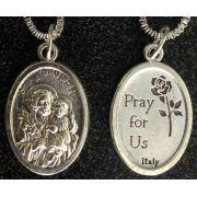 Saint Joseph & Child /Pray Us Medal In Nickel, 1in. 23in. Chain