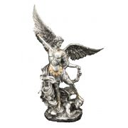 Saint Michael, Pewter Style Finish, Golden Highlights, 10in. Statue