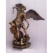 Saint Michael Statue, Cast Bronze, Lightly Painted, 29 Inch