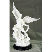Saint Michael, White On A Black Base, 10.75 Inch Statue