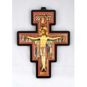 San Damian Cross, Metal Relief On Wood, 6.75 Inch
