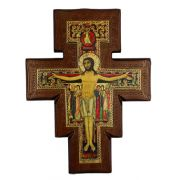 San Damian On Walnut Stained 1 Inch Thick Cross, 11.5 Inch