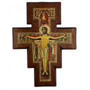 San Damian On Walnut Stained 1 Inch Thick Cross, 18 Inch Tall