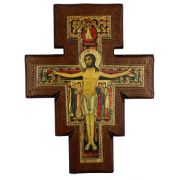 San Damian On Walnut Stained 1 Inch Thick Cross, 7 Inch