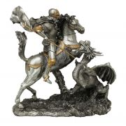 St. George w/Dragon, Pewter Finish, Golden Highlights, 11.5in. Statue