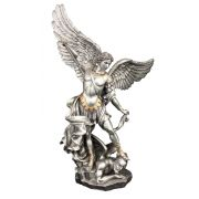 St. Michael, Pewter Style Finish, Golden Highlights, 14.5in. Statue