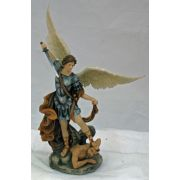 St. Michael-Statue Veronese, Painted Full Color w/Brown, 10in. Statue