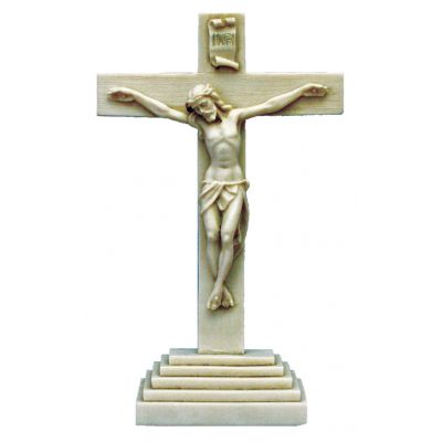 Standing Crucifix, Antiqued Alabaster, 10.5 Inch -  - ET-20-SA