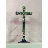 Standing Crucifix, Antiqued Brass, 10.5 Inch