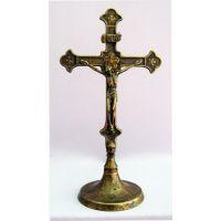 Standing Crucifix, Antiqued Brass, 11.5 Inch