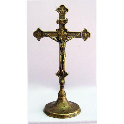 Standing Crucifix, Antiqued Brass, 11.5 Inch -  - 130307