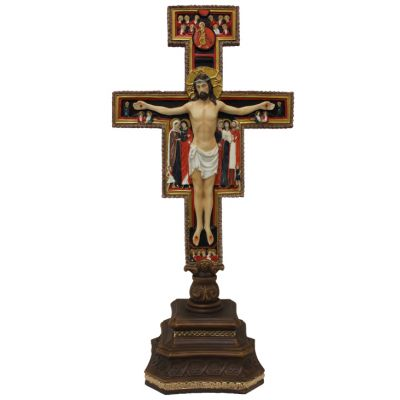 Standing San Damian Crucifix, Painted Color, 14 Inch -  - SR-76576-C