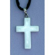 White Shell Natural Stone Cross Necklace, 26 Inch Cord