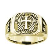 14 Karat Gold Men's Cross Ring - Signet/Micah 6:8