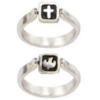 Sterling Silver Ladies' Cross Christian Ring - Flip w/Dove