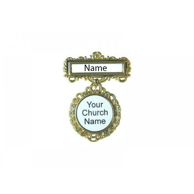 Fancy Round Church Badge Magnet or Pin -  Custom Name - 788200908134 - 90813