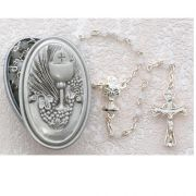 5mm White Rosary w/First Communion Box