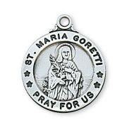 "Pewter Saint Maria Goretti Medal With 18"" Silver Tone Chain 2Pk"