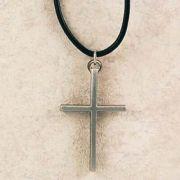 Pewter Cross on Black Leather Cord