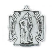 "Pewter Saint Florian Medal With 24"" Silver Tone Chain"