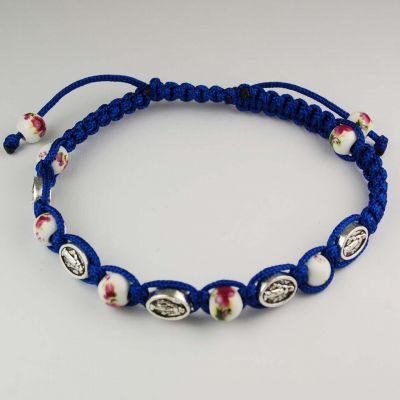 Blue Miraculous And Ceramic Beads Cord Bracelet 735365495573 - BR718C