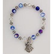 Blue & Crystal Angel Stretch Bracelet-