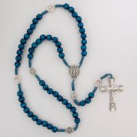 Blue Wood Beads Cord Miraculous Rosary