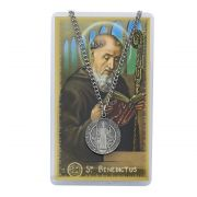 "Saint Benedict Pewter Medal/24"" Chain/Prayer Card Set"