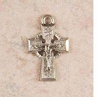 "Rhodium Finish Celtic Crucifix/18"" Fine Rhodium Chain"