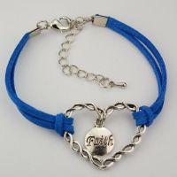 Blue Cord Heart Bracelet, 7 1/2 inch