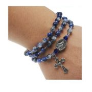 Blue Lapis Twistable Full Rosary Stretch Bracelet