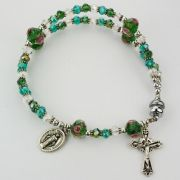 Magnetic Green Real Crystal Full Rosary Bracelet