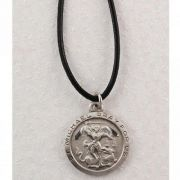 Pewter 1-2/16 inch Saint Michael Medal w/Leather Cord Carded