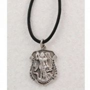 Pewter Saint Michael Badge w/Leather Cord (Pack of 2)